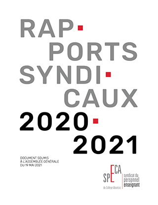Rapports syndicaux 2020-2021 – SPECA
